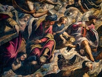 Le Paradis de Tintoret, le roi Salomon et Isaie, tous deux enturbannés et Noé, au Palais des Doges de Venise