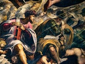 Le Paradis de Tintoret, les prophètes Isaie et Amos, au Palais des Doges de Venise
