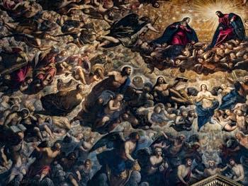 Le Paradis de Tintoret, l'archange Gabriel, la Vierge Marie et le Christ, le roi David, le roi Salomon, les prophètes Isaïe et Amos, Noé, saint Marc, saint Luc et l'archange Raphaël, au Palais des Doges de Venise
