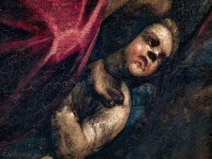 Le Paradis de Tintoret, détail d'un ange, au Palais des Doges de Venise