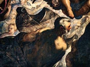 Le Paradis de Tintoret, la colombe avec son rameau d'olivier, l'arche et Noé, au Palais des Doges de Venise