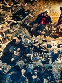 Le Paradis de Tintoret, l'archange Gabriel, la Vierge Marie, Saint-Marc et son lion, Saint-Luc et le boeuf, l'archange Raphaël, au Palais des Doges de Venise