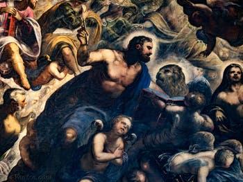 Le Paradis de Tintoret, saint Marc évangéliste et son lion, au Palais des Doges de Venise