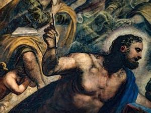Le Paradis de Tintoret, Saint-Marc évangéliste, détail, au Palais des Doges de Venise