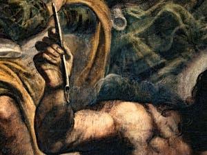 Le Paradis de Tintoret, Saint-Marc, détail de sa plume et de son bras, au Palais des Doges de Venise