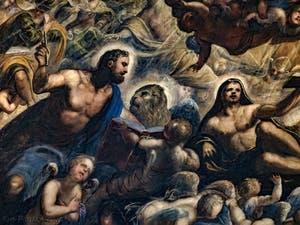 Le Paradis de Tintoret, Saint-Marc, son lion et Saint-Luc, au Palais des Doges de Venise