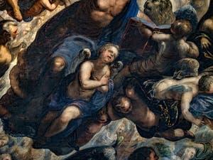 Le Paradis de Tintoret, ange en dessous de Saint-Marc, au Palais des Doges de Venise