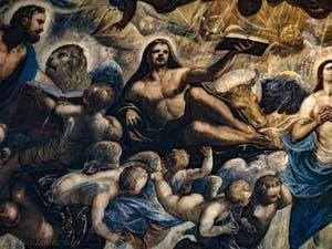 Le Paradis de Tintoret, Saint-Marc et son lion, Saint-Luc et son boeuf, au Palais des Doges de Venise