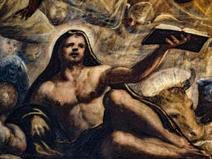 Le Paradis de Tintoret, Saint-Luc, son livre et son boeuf, au Palais des Doges de Venise