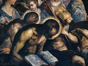 Le Paradis de Tintoret, saint en train de lire et évêque, au Palais des Doges de Venise
