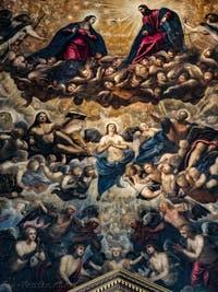 Le Paradis de Tintoret, la Vierge Marie, le Christ et l'Archange Raphaël, au Palais des Doges de Venise