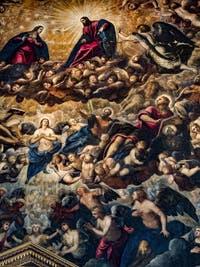 Le Paradis de Tintoret, la Vierge et le Christ, les archanges Michel et Raphaël, Saint-Matthieu et Saint-Jean, au Palais des Doges de Venise