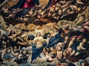 Le Paradis de Tintoret, les anges chérubins, Saint-Luc et son boeuf, l'archange Raphaël, Saint-Matthieu, au Palais des Doges de Venise