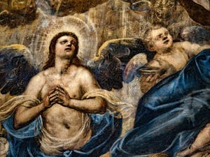 Le Paradis de Tintoret, l'archange Raphaël et un angelot, au Palais des Doges de Venise