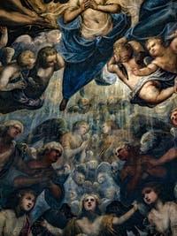 Le Paradis de Tintoret, la nuée des anges sous l'archange Raphaël, au Palais des Doges de Venise