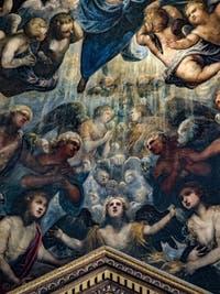 Le Paradis de Tintoret, les anges sous l'archange Raphaël avec au centre l'ange guardien de la mer, au Palais des Doges de Venise