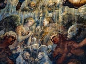 Le Paradis de Tintoret, les anges en prière sous l'archange Raphaël, au Palais des Doges de Venise