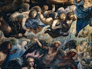 Le Paradis de Tintoret, les anges et chérubins sous l'archange Raphaël, au Palais des Doges de Venise