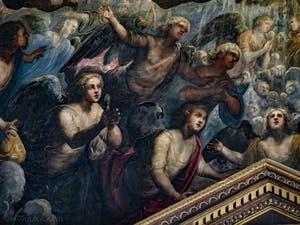 Le Paradis de Tintoret, la prière des anges sous l'archange Raphaël, au Palais des Doges de Venise
