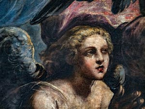 Le Paradis de Tintoret, ange féminin blond sous l'archange Raphaël, au Palais des Doges de Venise