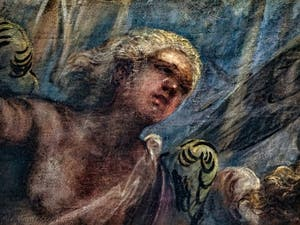 Le Paradis de Tintoret, détail d'un ange blond sous l'archange Raphaël, au Palais des Doges de Venise