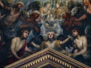 Le Paradis de Tintoret, la nuée des anges et l'ange guardien de la mer sous l'archange Raphaël, au Palais des Doges de Venise