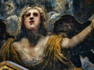 Le Paradis de Tintoret, l'ange guardien de la mer sous l'archange Raphaël, au Palais des Doges de Venise