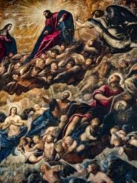 Le Paradis de Tintoret, la Vierge et le Christ portés par les chérubins, les archanges Michel et Raphaël, Saint-Matthieu et Saint-Jean, au Palais des Doges de Venise