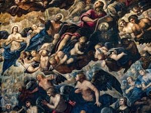 Le Paradis de Tintoret, l'archange Raphaël, saint Matthieu et saint Jean, Ève et Adam, au Palais des Doges de Venise