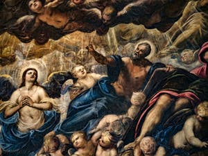 Le Paradis de Tintoret, l'archange Raphaël et Saint-Matthieu, au Palais des Doges de Venise