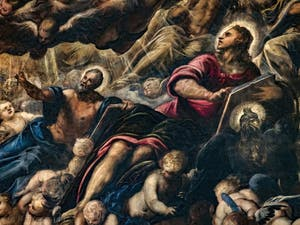 Le Paradis de Tintoret, Saint-Matthieu et Saint-Jean, au Palais des Doges de Venise