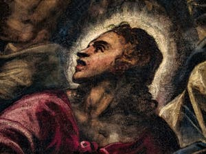 Le Paradis de Tintoret, Saint-Jean évangéliste, au Palais des Doges de Venise