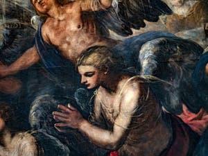 Le Paradis de Tintoret, ange en prière sous l'archange Raphaël, au Palais des Doges de Venise