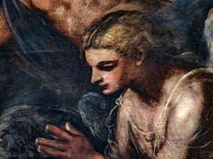Le Paradis de Tintoret, détail d'un ange en prière, au Palais des Doges de Venise