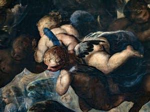 Le Paradis de Tintoret, groupe d'anges chérubins, au Palais des Doges de Venise