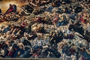 Le Paradis de Tintoret, le Christ, l'archange Michel, saint Matthieu et saint Jean, Ève et Adam, saint Thomas, saint Pierre et saint Paul, au Palais des Doges de Venise
