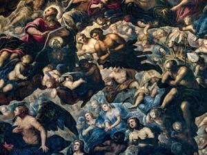Le Paradis de Tintoret, saint Jean, Ève et Adam, au Palais des Doges de Venise