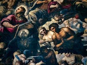 Le Paradis de Tintoret, Saint-Jean et son aigle, Ève et Adam, au Palais des Doges de Venise