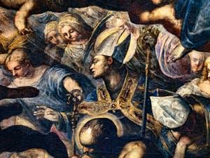 Le Paradis de Tintoret, évèques, anges et saints, au Palais des Doges de Venise