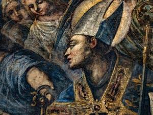 Le Paradis de Tintoret, Saint évèque, au Palais des Doges de Venise