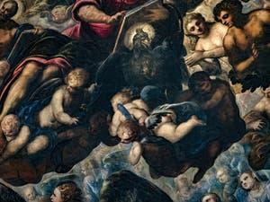 Le Paradis de Tintoret, l'aigle de saint Jean, Adam et Ève, au Palais des Doges de Venise