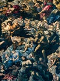 Le Paradis de Tintoret, Saint-Thomas, Adam et Ève, au Palais des Doges de Venise