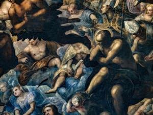 Le Paradis de Tintoret, anges, saints et martyrs, au Palais des Doges de Venise