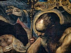 Le Paradis de Tintoret, saint auréolé, au Palais des Doges de Venise