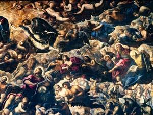 Le Paradis de Tintoret, l'archange Michel, Séraphins, Trônes, Principautés, saint Jean, saint Matthieu, saint Barthélémy, saint Pierre, saint Jean, Adam et Ève, au Palais des Doges de Venise