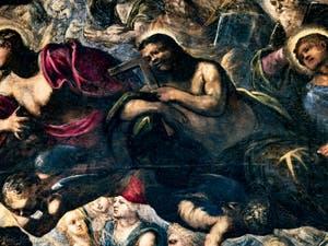 Le Paradis de Tintoret, Saint-Thomas avec son équerre, Saint-Philippe, au Palais des Doges de Venise