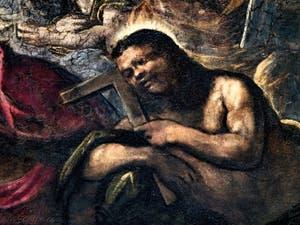 Le Paradis de Tintoret, saint Thomas avec son équerre, au Palais des Doges de Venise