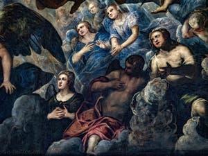 Le Paradis de Tintoret, anges et martyres en prière, au Palais des Doges de Venise