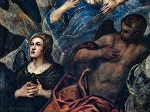 Le Paradis de Tintoret, ange en prières, au Palais des Doges de Venise