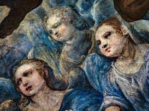 Le Paradis de Tintoret, visages d'anges, au Palais des Doges de Venise